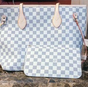 Louis Vuitton Neverfull Azur Tote Bag Set 2pcs